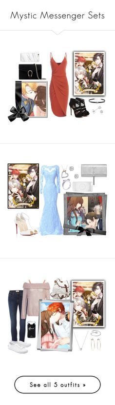"""""""Mystic Messenger Sets"""" by lola-twfanmily ❤ liked on Polyvore featuring Mix No. 6, Gucci, Giani Bernini, Amanda Rose Collection, yoosung, MysticMessenger, kimyoosung, Christian Louboutin, Yves Saint Laurent and Boohoo"""