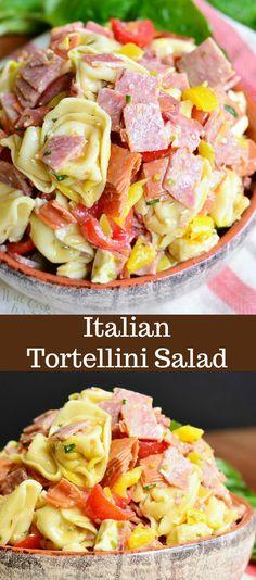 Italian Tortellini Salad Recipe. Tortellini salad loaded with salami, capicola ham, pepperoni, fresh mozzarella cheese, homemade basic Italian dressing and much more. #pastasalad #pasta #tortellini #italian #sidedish #bbq #potluck
