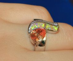 fire opal topaz ring gems silver jewelry Sz 5.5 6 7 7.5 8 modern engagement band #Band