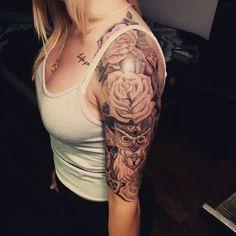 Finished this #blackandgrey #halfsleeve #roses #rosetattoo #owl #girltattoos #ink #tattoo