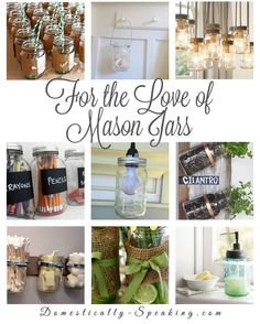 MASON JARS: So many great ways to use them. Here& some ideas for mason jar lights, mason jars in decor, mason jar storage. Mason Jars, Mason Jar Storage, Mason Jar Gifts, Canning Jars, Bottles And Jars, Glass Jars, Diy Jars, Jar Crafts, Bottle Crafts