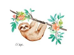 Art Print: Little Brown Sloth with Flowers by Elise Engh : Watercolor Animals, Watercolor Flowers, Watercolor Paintings, Watercolour, Cute Baby Sloths, Cute Sloth, Baby Otters, Canvas Artwork, Canvas Prints
