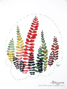 Illustration Affiche Poster Bouquet Feuille Feuillage Forêt Nature Decor Aquarelle Multicolore Automne : Affiches, illustrations, posters par thevy-guex
