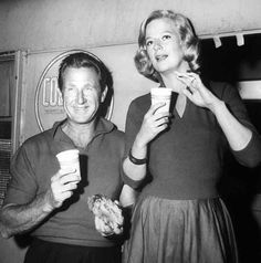Lloyd Bridges and Kim Stanley pause for coffee during filming of The Goddess