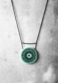 Mint turquoise mandala necklace for her - one of a kind pendant with handmade black lines & dots  unique gift for woman Christmas / holiday gifts & accessories  Sacred geometry by AnankeJewelry