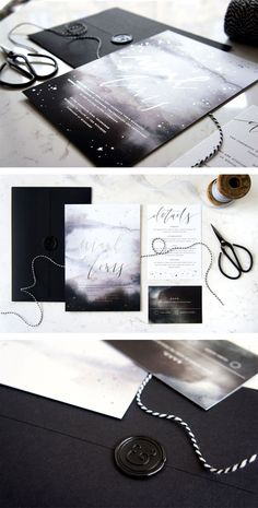 Night Sky wedding stationery suite by Paper Parade Stationers. Black and white watercolour invitations with silver foil, black wax seal and twine.
