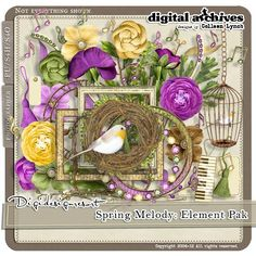 The Spring Melody Collection is about my favorite time of year. The world comes alive and everything is fresh and anew. The temperature begins to rise, daffodils bloom and everywhere you can hear the joyous songs of hope sung by the returning spring birds. The element pak includes 80 items.  http://www.digidesignresort.com/shop/designers-colleen-lynch-c-1_216/spring-melody-element-pak-s4h-by-colleen-lynch-p-13793