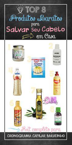 Produtos para cabelo baratos e que vão deixar suas madeixas incríveis. Kit para cronograma capilar econômico, gastando pouco e liberado para no e low poo #ohlollas Com óleo de rícino, coco, azeite de oliva, glicerina, vinagre de maçã, gelatina e queratina líquida. #cronogramacapilar com hidratação, nutrição e reconstrução para fazer em casa. #projetorapunzel #nopoo #lowpoo #receitascaseiras #cabeloslindos