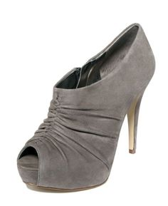 Nice Marc Fisher Women's Grey Suede Clearly Peep Toe Pump Size 10 M