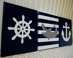 Nautical Nursery Wall Decor Anchor Shark by cathyscraftycovers, $54.00