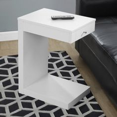 Monarch - Accent Table - Dark Taupe With A Drawer, White