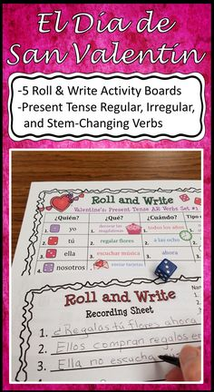 Five fun Spanish Verb Activity Boards for Valentine's Day! Includes Present Tense Regular, Irregular and Stem-Changing Verbs.