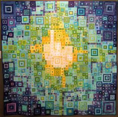 Original Design Category by Be*mused, via Flickr    Quilt blue green teal yellow radiating squares