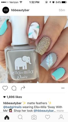 Beautiful nail art designs that are just too cute to resist. It's time to try out something new with your nail art. Fabulous Nails, Gorgeous Nails, Love Nails, Pretty Nails, Feather Nail Art, Feather Nail Designs, Blue Feather, Diy Nail Designs, Creative Nails