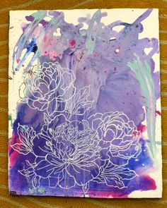 Purple Abstract with Flowers Painting. $30.00, via Etsy.