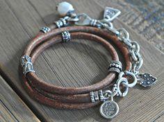 Rustic Antiqued leather sterling silver triple wrap by dooglelinhk