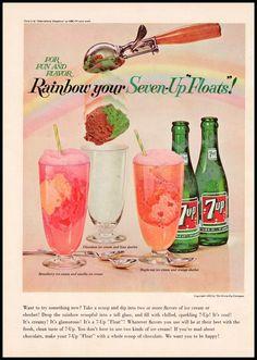 1963 7-UP ICE CREAM FLOATS Original Vintage Print Ad