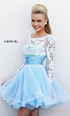 Short Babydoll Dress with Long Sleeves at PromGirl.com