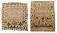 "1823 and 1824 Needleworks : probably British: one eight line verse, signed ""Sarah Huntington 1823"", silk on linen, later linen backing, 17 x 14 in., unframed, ; one with eight line verse, signed Ann Eliza McKee, silk on linen, 16 x 15-1/2"
