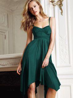 NEW Victoria Secret Size 8 Forest Green Bustier Handkerchief Empire Dress M / L