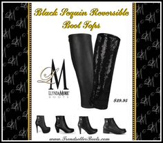 Black Sequin BootTops for Llynda More Boots.  Buy them here:  http://llyndamoreboots.com/have-fun-shopping/pick-your-boot-tops/?a_aid=lyndagavelis&a_bid=0cbb96fa Black sequin BootTops $29.95