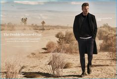 Modern Essentials - The Double-Breasted Coat: David Beckham goes solo in a classic double-breasted coat from H&M.