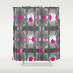 Shades of Gray, hot pink and white Shower Curtain by Celeste Sheffey - $68.00  #homedecor  #bathroom #menandwomen
