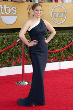 Anna Chlumsky worked her curves in Sophie Theallet's asymmetrical column gown and Jimmy Choo heels.