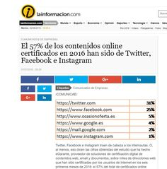 eGarante en los medios  Nuestra nota de prensa sobre los contenidos online certificados en el primer semestre de 2016 en lainformacion.com    http://noticias.lainformacion.com/comunicados_empresas/contenidos-certificados-Twitter-Facebook-Instagram_0_938906276.html