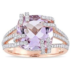 Miadora Signature Collection 14k Rose Gold,  Rose de France Amethyst and 3/4ct TDW Diamond Split Shank Cocktail - This one-of-a-kind Miadora  ring is crafted in 14-karat rose Gold and features a cushion-cut, prong-set rose de France at the center with 144 round-cut, buttercup-set glowing Diamonds set together in a split shank motif. This exquisite piece is sure to become your new favorite statement piece for all occasions. •EUR 2,025.39