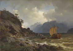 Hans Fredrik Gude - Nasjonalmuseet for kunst, arkitektur og design NG.M.03487. Vestlandsfjord (1862)  #19th #Classic #Hans #Fredrik #Gude #Painting #sea #ship