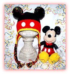 $8.00 Mickey Mouse Earflap Hat - Crochet Pattern!