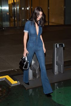 Bella Hadid in a jumpsuit by Second Skin Overalls, out in NY