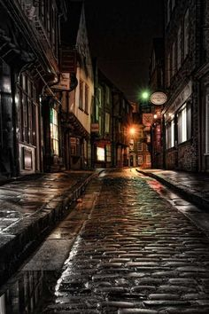 A wet night in the Shambles, North Yorkshire, England, UK