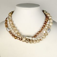 Simon Sebbag Sterling Silver Beads Three Strand Pearl Natural Stone Necklace