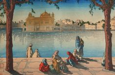 In Paintings: Golden Temple (Harmandir Sahib) Amritsar Japanese Painting, Japanese Art, Temple Drawing, Harmandir Sahib, Golden Temple Amritsar, Guru Gobind Singh, Architectural Prints, Woodblock Print, Beautiful Paintings