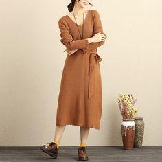 Women Personality Fashion Cut V Neck Long Sleeve With Belt Khaki Sweater Dress