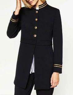 Vintage Nautical Sailor Blazer Coat with Golden Striped Trim Picture