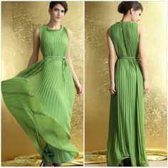 2014 New Brand Fashion Vestidos Floor-length Sleeveless Green Pleated Beach Maxi Dresses Vestidos Women Summer Dress for Party