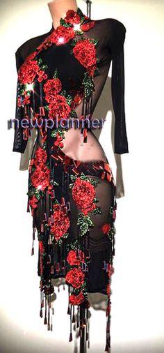 Women Ballroom Latin Rumba Salsa Smooth Swing Dance Dress US 12 UK 14 Black Red | Clothing, Shoes & Accessories, Dancewear, Adult Dancewear | eBay!