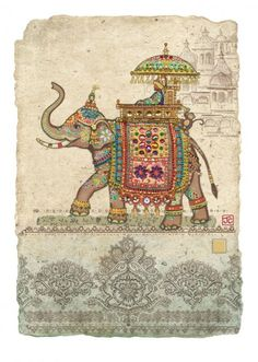 Bug Art D144 Elephant Collage greetings card