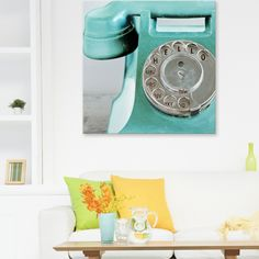 """Remember the good old days? Use a close-up of an old rotary telephone to add retro style to your living room. """"Hello Aqua"""" canvas print by Joanne Ganley-Yates will transport you back in time. Check it out at GreatBIGCanvas.com"""