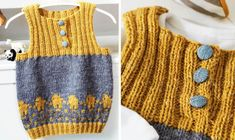 Se strikkeopskriften her. Baby Vest, Chrochet, Baby Outfits, Baby Knitting Patterns, Alter, Sweaters, Cardigans, Clothes, Collection