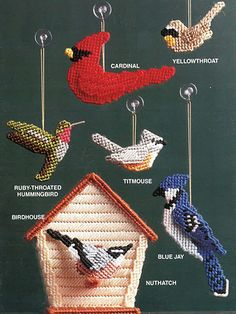 These beautiful birds are made using 7-mesh plastic canvas and Needloft Plastic Canvas yarn. 13 different birds and a birdhouse are included in the pattern. They can be hung in a window, used in floral arrangements, used as ornaments or given as gifts to a friend.
