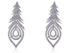 Aurora Borealis Crystal Rhinestone Peacock Feather Leaf Big Dangle Drop Earrings