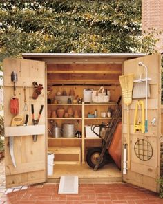 Create an Organized Shed - OR neatly store gardening supplies in the garage