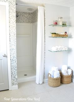 Ideas to update a fibreglass walk in shower with mosaic tile by Four Generations One Roof