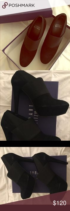 Stuart Weitzman Booties Reposhing - never got a chance to wear. Fits a size 6-6.5 perfectly! Extremely comfortable 😊 slight scuff marks on the shoes from potentially rubbing against each other (I bought them like this) but not noticeable and expected with the material Stuart Weitzman Shoes Ankle Boots & Booties