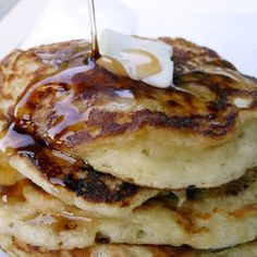 Greek Yogurt Pancakes-made these for supper tonight with Saskatoon Berry syrup. Pretty good. Almost burnt them though, they cooked pretty fast.