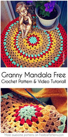 Granny Mandala Free Crochet Pattern & Video Tutorial! #crochet #diyhomedecor #crochetaddict #craft #homedecorideas